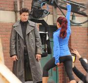 Ariana Grande - wearing tight pants on the set of Swindle in Vancouver 10/11/12