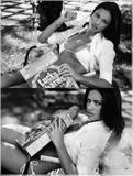 Adriana Lima posing in skimpy outfits and topless (covered) in Elle magazine -